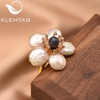 Cluster Rings XlentAg Natural Stone Fresh Water Baroque Pearls Flower Silver 925 For Girls Women's Cute Jewelry Lovers Engagement C