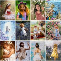 Paintings Figures Girl Oil Painting By Numbers DIY On Canvas For Drawing Acrylic Paint With Frame Pictures Coloring Number Home Decor