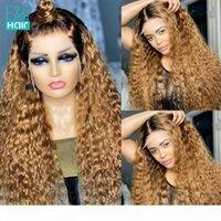 Ombre farbig 13x4 spitze front menschliche haarperücken für frauen brasilianische remy highlight honig blonde braun lockige spitze frontperücke 180%
