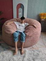 Chair Covers Drop Warm Plush Giant Bean Bag Sofa Cover Soft Comfortable Fluffy Fur Round Lazy Recliner Cushion