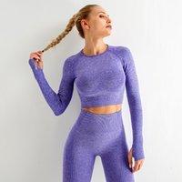 Yoga suit women's fitness top women's long sleeve dot jacquard sports high waist tight hip seamless Yoga Pants