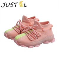 Sneakers JUSTSL Child Lighted Casual Shoes Breathable Soft Bottom Boys Girls Elastic LED Fashion Kids Net Sport Size 21-36