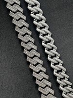 17mm Top Quality Thick round square Cubic Zirconia Chain Diamond Cuban Heavier Miami Link Necklaces mens hiphop iced out jewelry