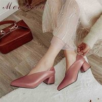 Meotina عالية الكعب النساء مضخات أزياء مربع البغال أحذية أشار تو مكتب السيدات الربيع حجم كبير 33-46 210610