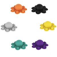 Decompression Toys Push its Pops Fidget Solid Color Octopus Keychain-shaped Feature Popper Bubble Fingertip Sensory Toy for Children Gifts