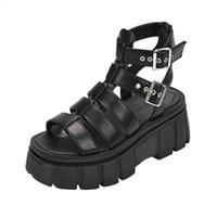 Женский открытый носок повседневные лодыжки с низким клином веганская платформа Chunky Gladiator Sandal 210619 2jan