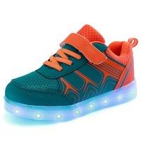 Jawykids Весна Летние Детские Светодиодные Обувь USB Зарядки Светящиеся кроссовки Дышащие Детские Повседневные Обувь для мальчиков и Девочек 210309