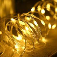 Полосы покрыты медной проволокой 22 м 12 м 7 м Струнный свет батареи USB Power Skin Fairy Lights Водонепроницаемый светодиодный сад декабря