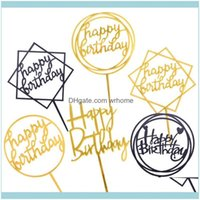 Other Home Gardenother Festive & Party Supplies 1Pcs Happy Birthday Love Cake Topper Gold Acrylic Cakes Wedding Cupcake Decoration Dessert B