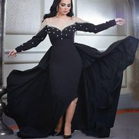 Dubai Arabic Black Long Sleeve Prom Dresses with Train Sheer Neck Beadings Pearls Evening Party Gowns Robe de Soiree Formal Dress