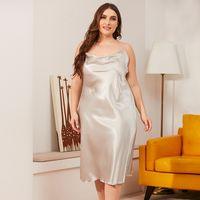 Large size dress home suit women Solid Thin Satin Nightdress Female Summer Sleepwear Sexy Lingerie women's dress