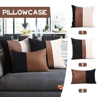 Pillow Case Nordic PU Leather Canvas Patchwork Square Cushion Cover Decorative Pillows Indoor Home Room Seat Sofa Car Pillowcase