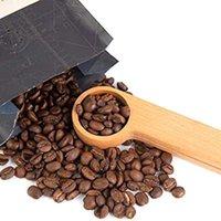 Деревянный кофе совок с сумкой зажим столовые ложки твердой буковой древесины измерительный совок чай кофе в зернах ложка клип подарок KKB8662