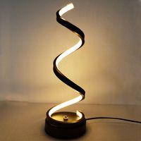 현대 LED 나선형 테이블 램프 곡선 책상 침대 램프 멋진 흰색 따뜻한 흰색 빛 거실 침실 독서 조명