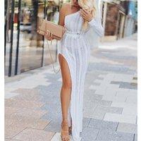 Abiti casual Boho Donna Pizzo Crochet Cover Up Beach Dress Vestito da estate Abbigliamento Lady One Spalla lunga Slim Slim Slit Bianco Sundress