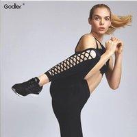 Women's Leggings Goider High Waist Casual Pants Women Fitness Solid Elastic Cross Design Hollow Out Capris Jc0053