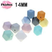 Fkisbox 100PCS Hexagon 14mm Baby Teether Silicone Beads Diy Silicon Teething Necklace Loose Bead Bpa Free Beads For Diy Baby 210311