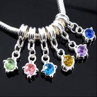 60pcs lot Hole Birthday Rhinestone Silver Pendant DIY Charm Dangle Bracelet Beads Big European Charms Fit Jewelry Crystal Tjcak