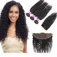 Vendeurs vierges brésiliens Vendeurs Deep Wave 3 Bundles avec fermeture en dentelle Frontal Indian Péruvien Human Hair Extensions Extensions de Cheveux Human Wefts