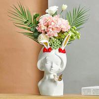 Resina Antlers Girl Piccolo stile semplice viso umano vaso decorazione soggiorno camera da letto disposizione secca fiore fiore a casa