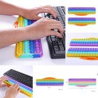 10*38cm Keyboard Silicone Fidget Toy Bubbles Large Giant Rainbow Push Bubble Sensory Finger Puzzle Keypad Toys Game Hand DHB9537