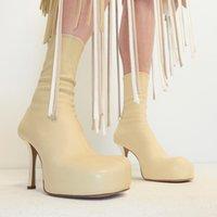 Designer Plush Boots High Heele Square Toe Platform Womens Ankle Boot New Luxury Runway Shoes Women