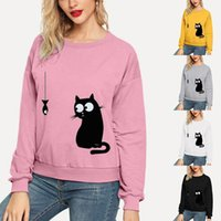 2021 nuevo encantador gato quiere comer pescado casual manga larga jersey sudadera mujer kawaii con capucha blanca con capucha de gran tamaño rosa amarillo 423 AQK