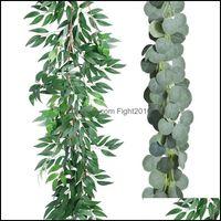 Decorative Flowers Wreaths Festive Party Supplies Home & Gardenartificial Faux Silk Eucalyptus Leaves Handmade Garland Greenery Wedding Back