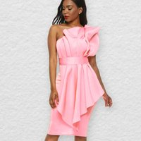 Casual Dresses Dressed as a bridesmaid, large size, pink, frilly, short, bodycon, for party at night, birthday, club clothes, UHZE