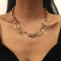 Chains Transparent Resin Double Alloy Metal Short Clavicle Men Thick Jewelry Gold-plated Chain And Women Fashion Necklace Chai P6L3