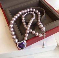 Collares colgantes Púrpura Rhinestone Shell Pearl Love Heart Romance Women Necklace Diseñador Advanced Elegant Ladies Día de San Valentín Cuello