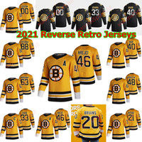 Boston Bruins 2021 Ters Retro Hokey Formaları Matt Grzelcyk Jersey Brandon Carlo Jaroslav Halak Anders Bjork John Moore Özel Dikişli
