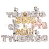 Hotsale Hip Hop Пользовательские Название Багет Письмо подвеска Ожерелье с бесплатной веревочной цепью Золотой Серебряный Bling Zirconia Мужчины Кулон Ювелирные Изделия 133 U2
