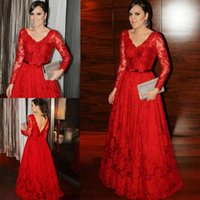 Red Lace Evening Dresses with Long Sleeves 2022 V Neck Back A Lone Floor Length Ribbon Ruched Custom Made Plus Size Prom Party Gown vestidos Formal Occasion Wear