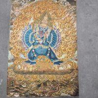 Altre arti e artigianato Seta Fine Ricamo Pittura Tibetano Buddha Tang Ka Kadawad Golden Kong Doppia riparazione1