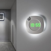 LED PIR Motion Sensor Wall Clock Lamp 360 Degrees USB Modern Design Digital Watch Time Indoor Kitchen Bathoom Study Night Light 210724