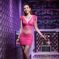 Casual Dresses Sexy Dress See-through Nightclub Low-Cut Tight-Fitting Lace Sheath Miniskirt Work Clothes Women's Summer