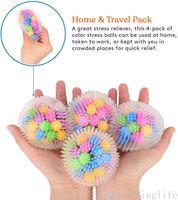 DNA Squish Strish Ball (paquete de 4) Squeeze Color Sensory Toy - Alivie la tensión de la tensión: viaje en el hogar y uso de la oficina FY9409