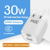 GaN 30W phone Charger Type-C+USB dual port for iphone High Speed Android and laptop universal pd fast charging head