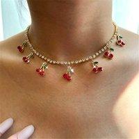 Bynouck роскошный красный вишневый кристалл теннис цепь женское ожерелье очарование милые кулон ожерелья женщин горный хрусталь ювелирных изделий подарок