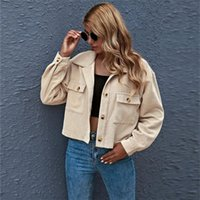 Women's Jackets Fashion Solid Women Jacket Long Sleeve Turn-down Collar Office Ladies Shirt Short Coats Plus Size Casual Corduroy Spring