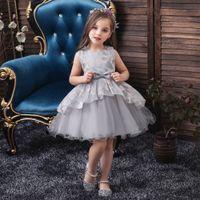 girl kids lace dress flower girl dresses wedding birthday party tutu bow-knot princess dress