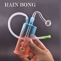 Wholesale Mini Glass Oil Burner Bong Water Pipes with Thick Hookah Pyrex Recycler Hand Dab Bongs for Smoking Small Rig Pipe with straw hose