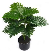 Bouquet 12 Leaves Artificial Plastic Green Kwai Leaf Tree Plant For Home Wedding Table Decoration Fake Bonsai Accessories Decorative Flowers1