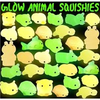 New Squishy Buns Toys Slow Rising Animals Kids Glowing In The Dark Luminous Kneading Toy Gift Led Mini Flashing TPR Music Decompression