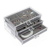 صناديق التخزين صناديق أدراج الاكريليك مجوهرات منظم مربع ل القلائد حالة 3 طبقات القرط عرض المخملية صينية حلقة حامل ماكياج صندوق