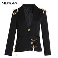 [Menkay] oco out patchwork lace up feminino blazer entalhado manga comprida magro elegante terno feminino 2021 outono moda nova