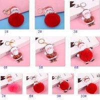 كبير أحمر سانتا كلوز رقيق مفتاح سلسلة حزب هدايا فو الأرنب الفراء الكرة بوم المفاتيح المرأة حقيبة كيرينغ DHD9135