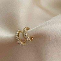 سحر أقراط كريستال الأذن الكفة حلق للنساء الذهب اللون c شكل دون ثقب بيان القرط الصغيرة الزفاف الزفاف الأذن كليب المجوهرات