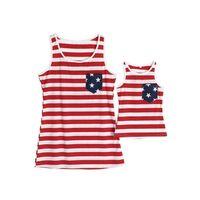 Roupas de família que correspondem roupas bandeira americana colete listrado mãe e filho crianças filha mãe sem mangas t-shirt verão pai meninas meninas toe toe g63ey3z